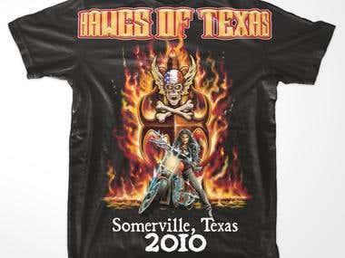 Hawgs of Texas biker rally tee shirt design