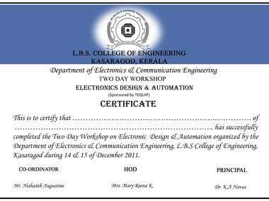 Certificate made by me for my college