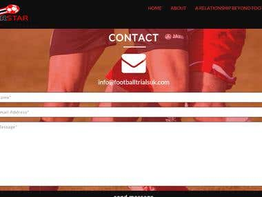 A one page website for a sports Agency