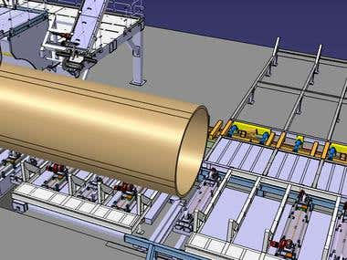 Simulation for a GRP Pipe cutting / receiving / weighing sys