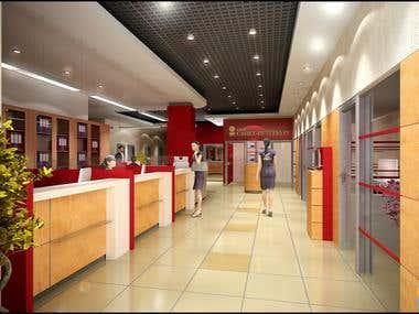 Bank interiors - visualization for www.ar4e.ru studio