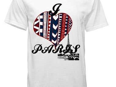 Unisex t shirt  design - I Love Paris