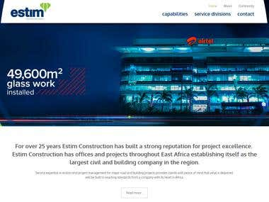 Website design and development for Estim construcion company