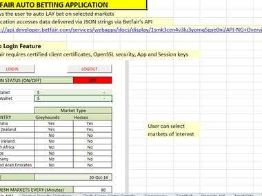 Betfair Auto Bet Application
