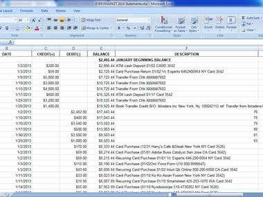 Bank Statement into Excel