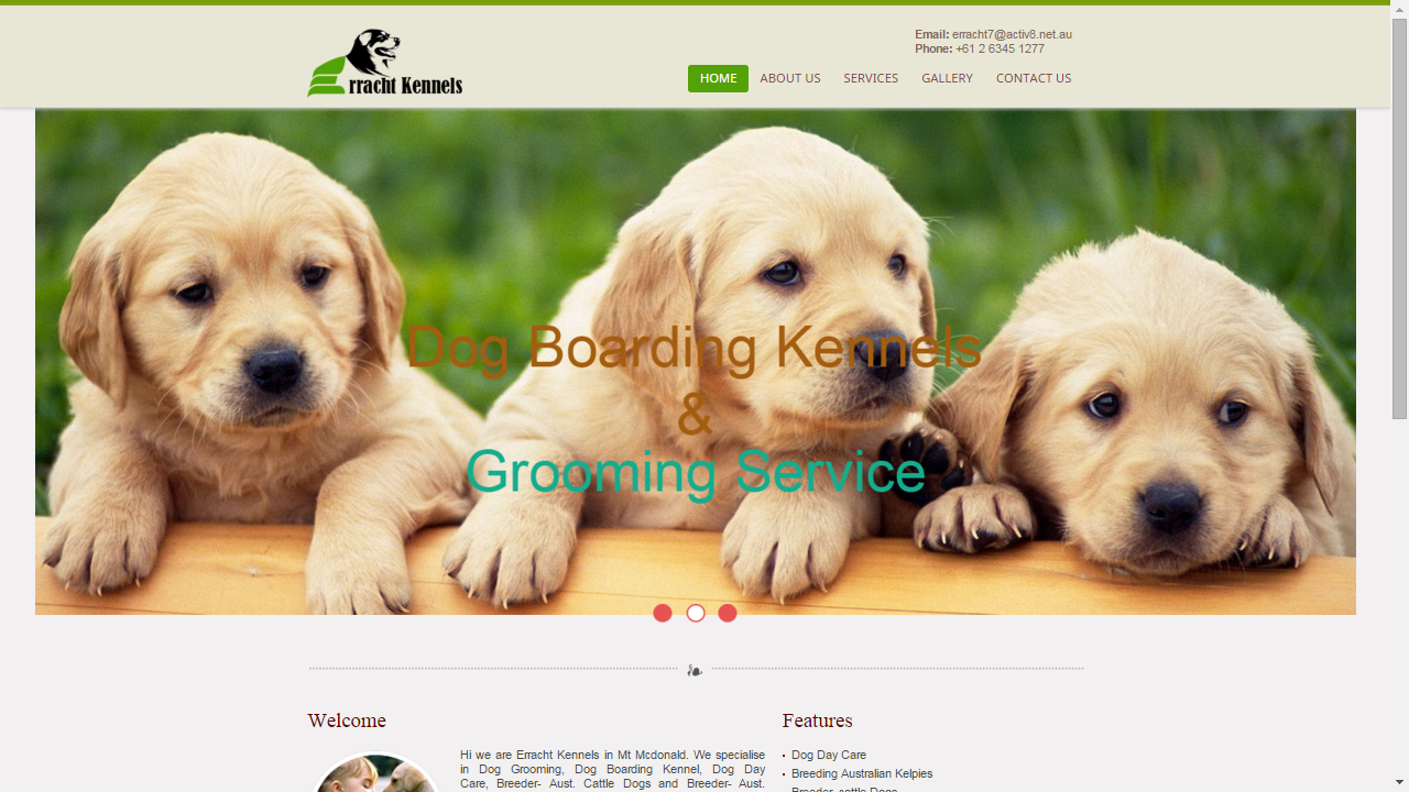 Pet related Website (www.errachtkennels.com.au)