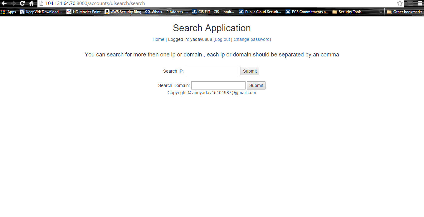 Django based website for IP search with user subscription .