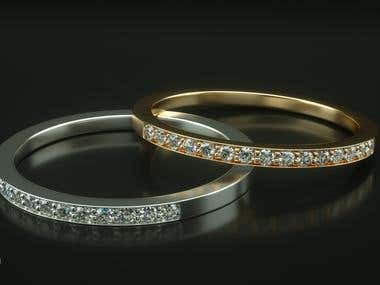 Silver, gold diamond rings