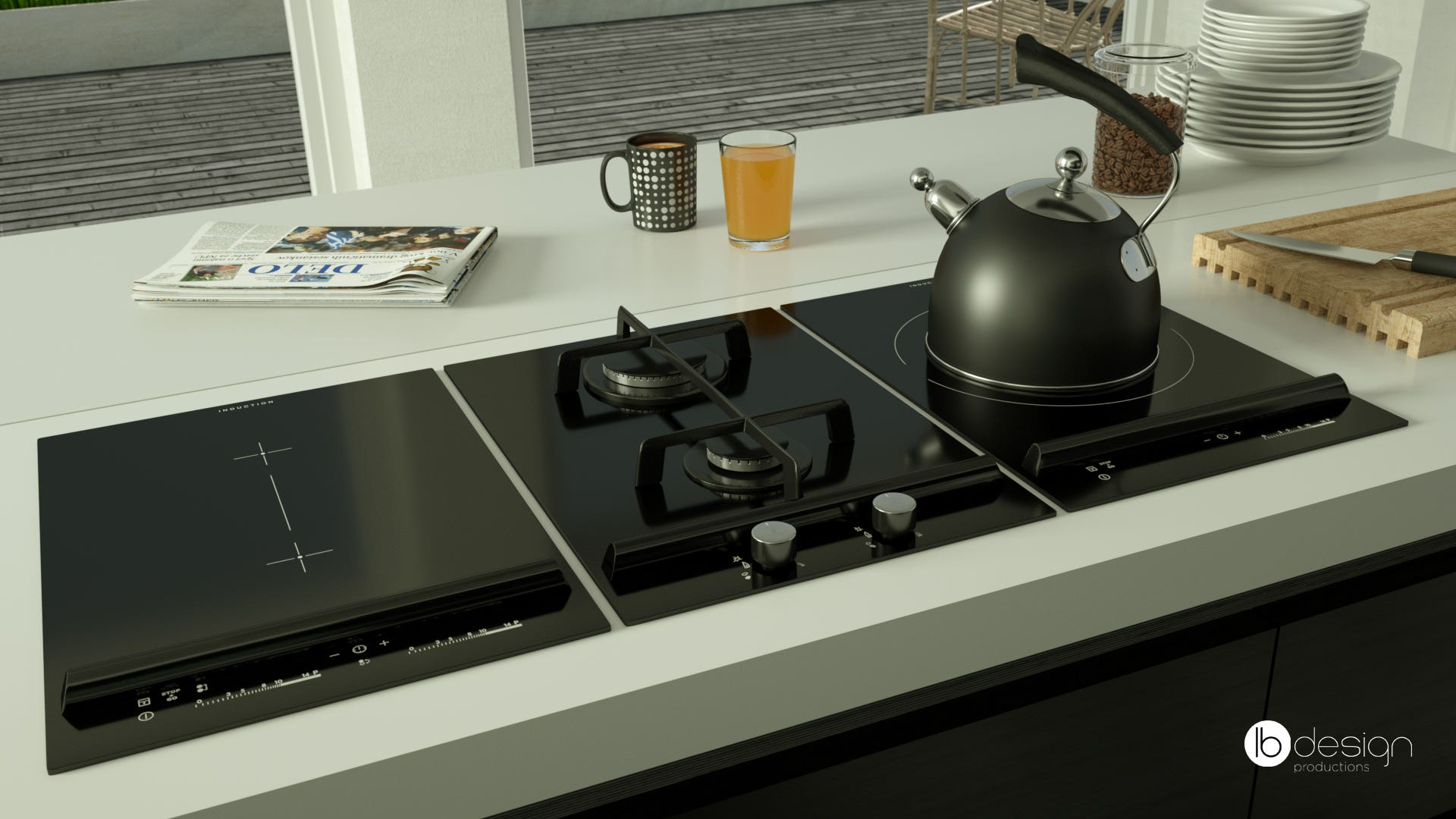 Ceramic stove, kitchen interior