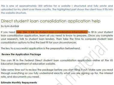 Direct student loan consolidation application help