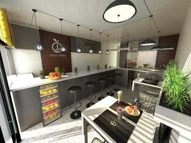 Juice Store Restaurant Architecture Design