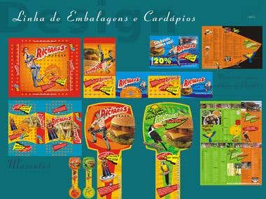 Linha de embalagens de produtos fast food