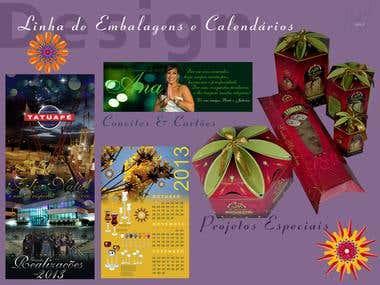 Cartões comemorativos, convites e embalagens
