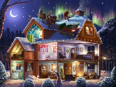 Christmas House puzzle illustration