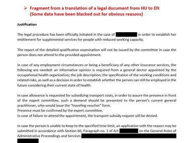Translation of legal document (from HU to EN)