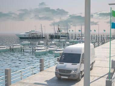 seafood restaurant, pier, marina