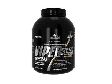 viper black hardcore supplement design and rendering