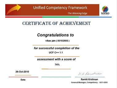 Certificate from Wipro Technologies Pvt. Ltd.