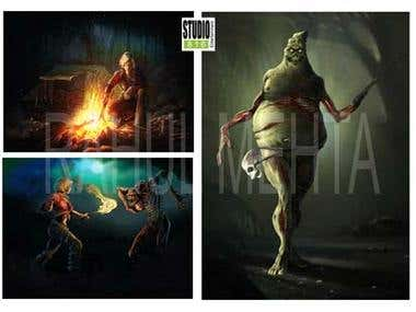 Concept art for horror game