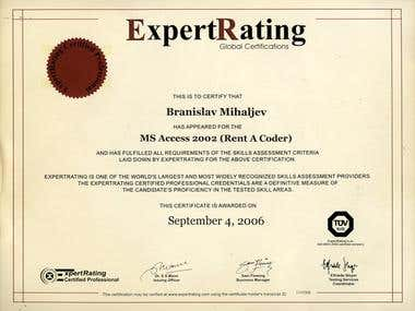 Expert Rating (Access 2002) Certificate #1119403