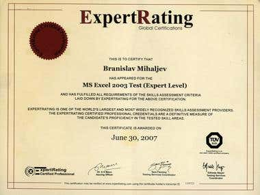 ExpertRating (Excel 2003) Certificate #1120723