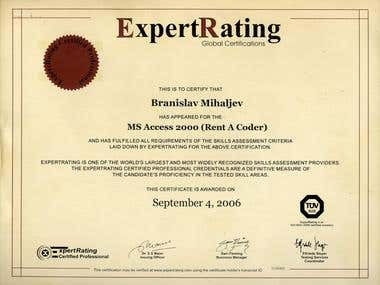 ExpertRating (Access 2000) Certificate #1119268