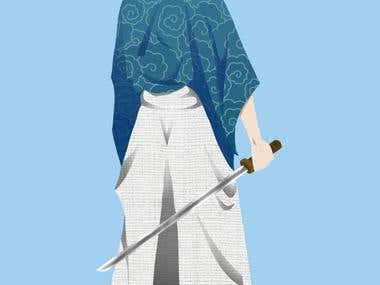 Samurai character made for a contest.