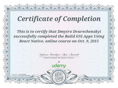 Certificate of Build iOS apps Using React Native (2015)