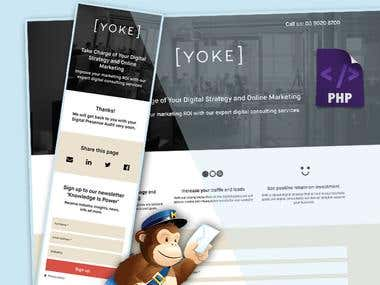 Website Landing page for Yoke Design Australia