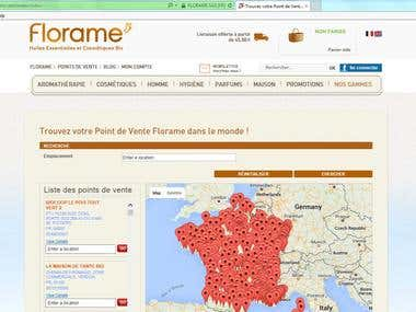 Project on Store location in France using Google Map Api