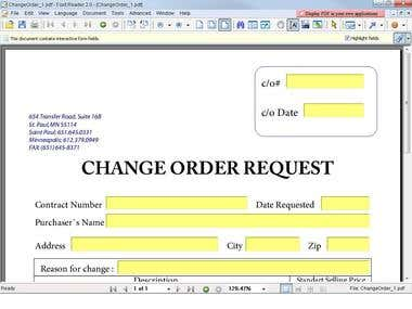 """CHANGE ORDER REQUEST"""