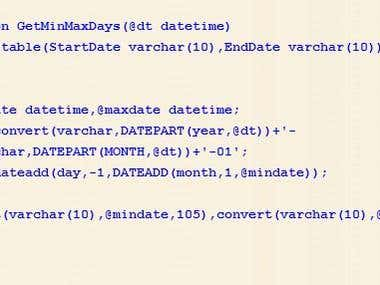 Sql function to get first and last date of any month