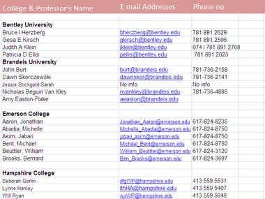 Professors Contact Information