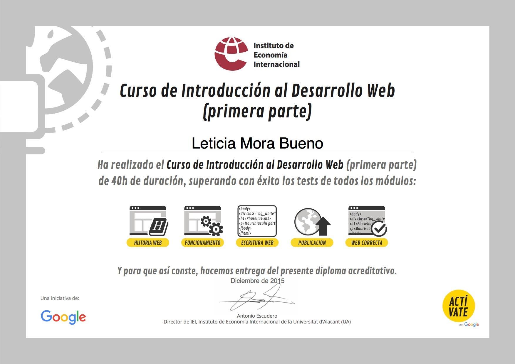 Curso Desarrollo web Instituto de economía Internacional