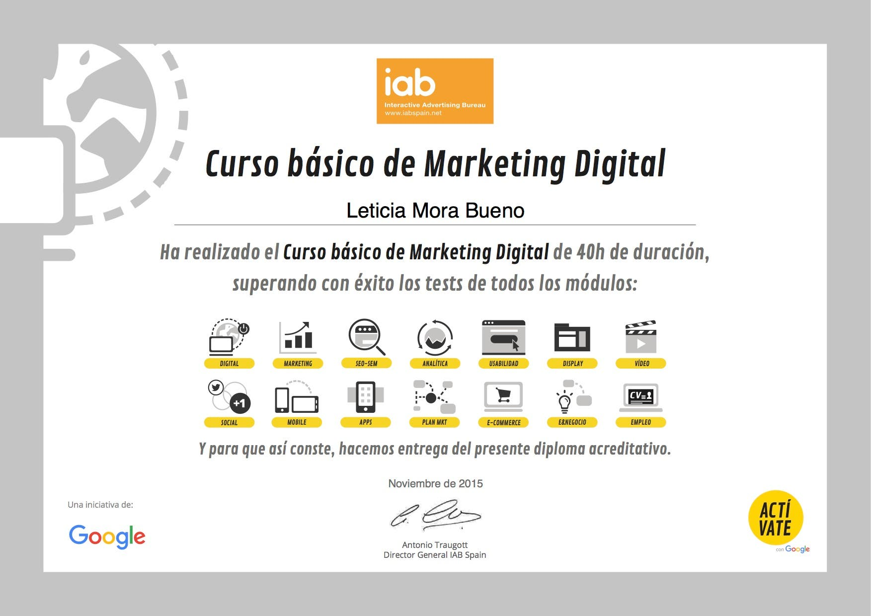 Curso de Marketing digital impartido por la IAB España