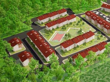 3d visualization of Town Houses