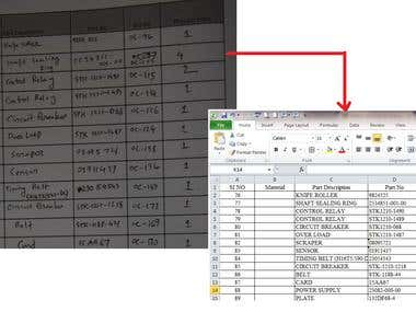 Manual data entry (Image to Excel)