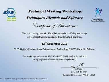 Technical Writing Workshop Certificate