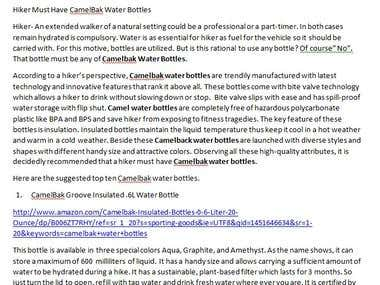 Hiker must have CamelBak Water Bottles