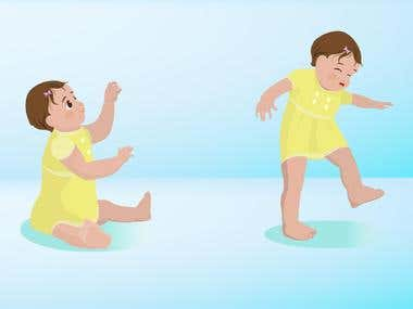 Illustrations:  2 Illustrations of a baby (12-15 month old)