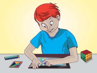Illustration:  boy learning with tablet