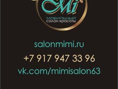 business card for a virtual beauty salon