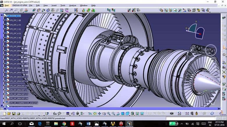design of an turbo fan engine of an aircraft   Freelancer