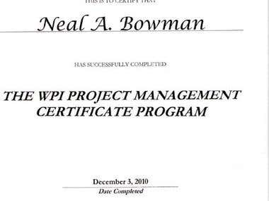 WPI Project Management Certificate
