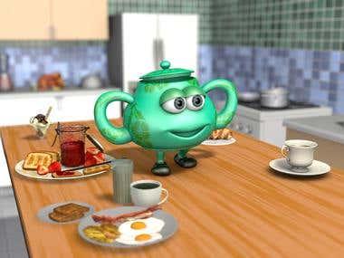 3D Cartoon Little Teapot