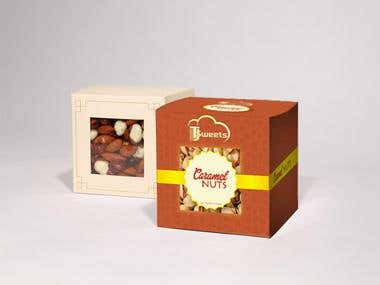3D look of Caramel box packaging