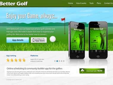 Landing Page for a Golf App