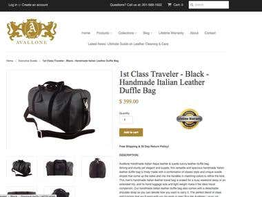 Avallone Luxury - Custom E-commerce Web Application