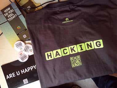 T-shirt + pins + postcard