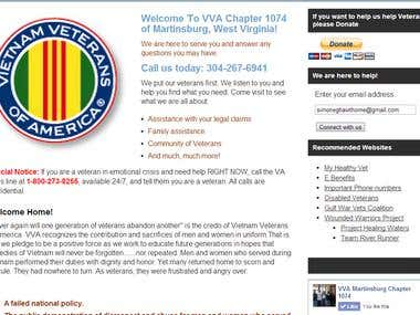 WordPress site for VVA of Martinsburg